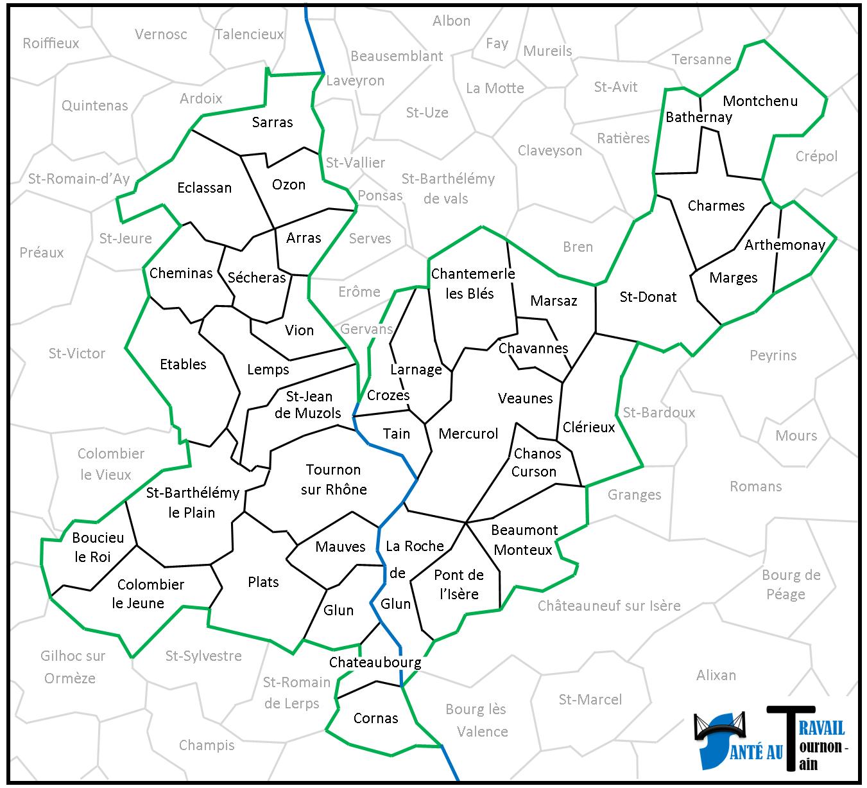 Secteur géographique du Service de Santé au Travail de Tain Tournon et région